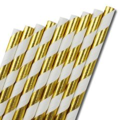"Gold & White Stripe Paper Straw 6mm Bore 8"" / 20cm"