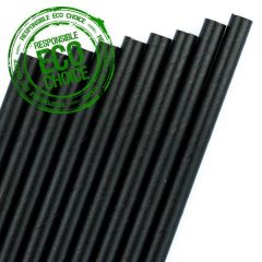 "Black Paper Bottle Straw 6mm Bore 10.5"" / 25cm"