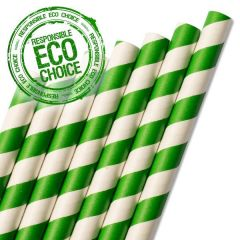 "Dark Green Striped Paper Smoothie Straw 8mm Bore 9"" / 23cm"