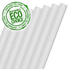 "White Paper Smoothie Straw 8mm Bore 9"" / 23cm"