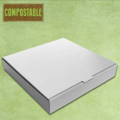 "Compostable Plain White Cardboard Pizza Delivery Box 10"" / 25cm"