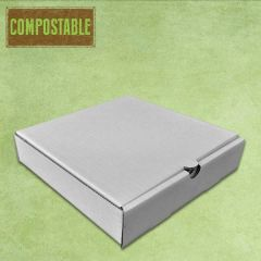 "Compostable Plain White Cardboard Pizza Delivery Box 9"" / 24cm"