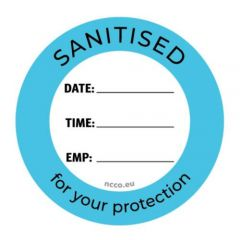 """Sanitised For Your Protection Removable Circular Label 3"""" / 7.5cm"""