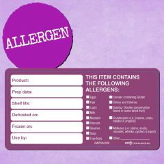 """Purple Allergen Removable 'Date Use By' Label 2x4"""" / 5x10cm"""