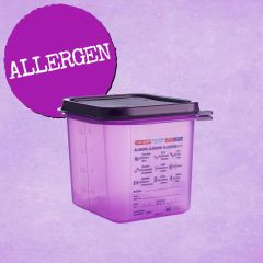 Araven Purple Allergen 1/6 Gastronorm Container with Airtight Lid 2.6L 150mm Deep
