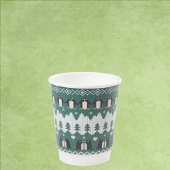 Vegware Christmas Green Penguin Double Wall PLA Coffee Cup 8oz / 22cl