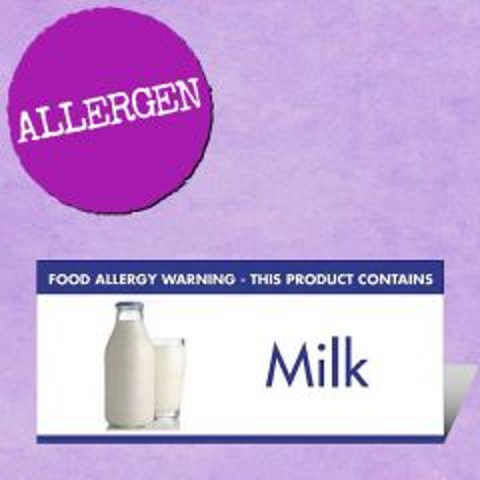 Food Allergen Buffet Notice Milk Warning 45x100mm