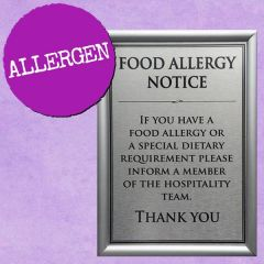 Food Allergy Notice Sign A5 Supplied In Snap Frame
