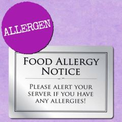 Brushed Silver Food Allergy Notice A5 148x210mm