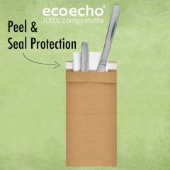 Duni EcoEcho Kraft Sealable Sacchetto with Tissue Lunch Napkin 8.5x25cm