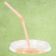 Disposable rPET Clear Straw Slot Lid for Straight Shape Smoothie Cup 15oz / 42.5cl