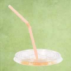 Disposable rPET Clear Straw Slot Lid for Tulip Shape Smoothie Cups 8, 10 & 12oz