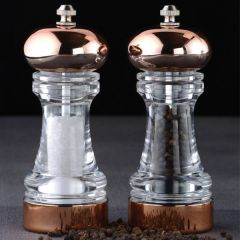 "David Mason Design York Clear Copper Plated Acrylic Filled Salt & Pepper Mill Set 6"" / 15cm"
