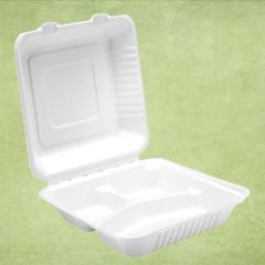 """Bagasse Eco-Friendly 3 Compartment Meal Box 9"""" / 23cm"""