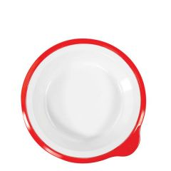 "Omni Healthcare White Melamine Deep Plate With Red Rim 7"" / 18cm"