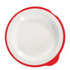 "Omni Healthcare White Melamine Deep Plate With Red Rim 9.4"" / 24cm"