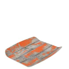 "Tura Rustic Orange Paint Effect Melamine 1/2 Curved Tray 10.4x12.8"" / 26.5x32.5cm"