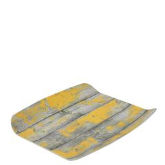 "Tura Rustic Yellow Paint Effect Melamine 1/2 Curved Tray 10.4x12.8"" / 26.5x32.5cm"