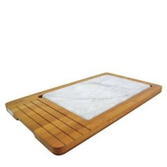 "Bamboo Tray With Carrara Marble Effect Rectangular Platter 17x10"" / 43x26cm"