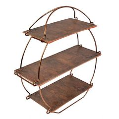 "3 Tier Copper Tea Stand with Wooden Platters 14.25x15.25x5.25"" / 36.2x38.5x13.5cm"