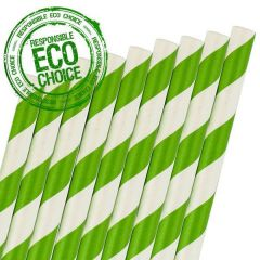 "Green & White Stripe Retro Paper Straw 6mm Bore 8"" / 20cm"