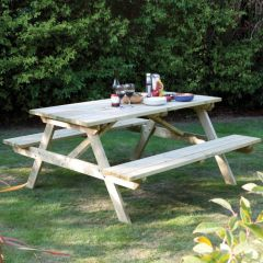 Pressure Treated Natural Timber Picnic Bench 6' / 1.8m Seats up to 8