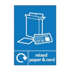 Mixed Paper & Card Recycling Sticker 200x150mm