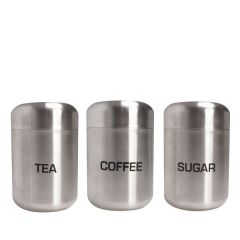 """Tea, Coffee & Sugar Holders with Lids in Brushed Stainless Steel 1.8x5.9"""" / 4.5x15cm"""