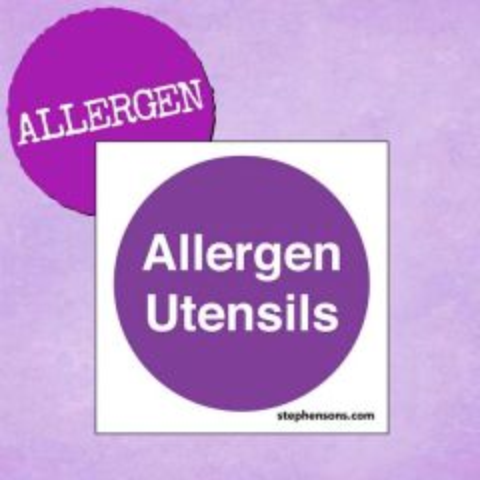 Allergen Utensils Self Adhesive Vinyl Sign 100x100mm