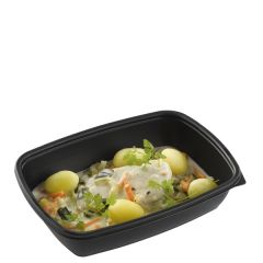 "Sabert Fastpac Disposable Rectangular Container Black 9x6.7x2"" / 23x17x5cm, 900ml"