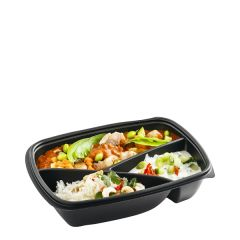 Sabert Fastpac Disposable Rectangular 3 Compartment Container Black 23x17x5cm
