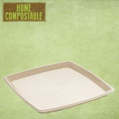 Sabert Home Compostable BePulp Square Platter Base 27x27cm
