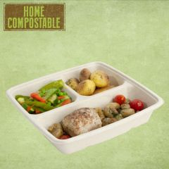Sabert BePulp 3 Compartment Container 23x23x4cm