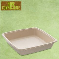 Sabert Home Compostable BePulp Square Tray 23x23x4cm 1400ml