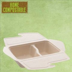 Sabert Home Compostable BePulp 2 Compartment Takeaway Food Box 800ml 21x15x5cm
