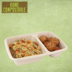 "Sabert BePulp Rectangular Two Compartment Container 6.2x9x2"" / 16x23x5cm, 550 & 250ml"