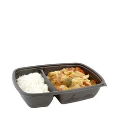 Sabert Fastpac Disposable Rectangular 2 Compartment Container Black 23x17x5cm