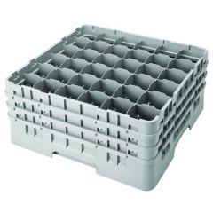 Cambro 36 Compartment Grey Glass Camrack Glasses up to 19.4cm Tall / 7.2cm Diameter