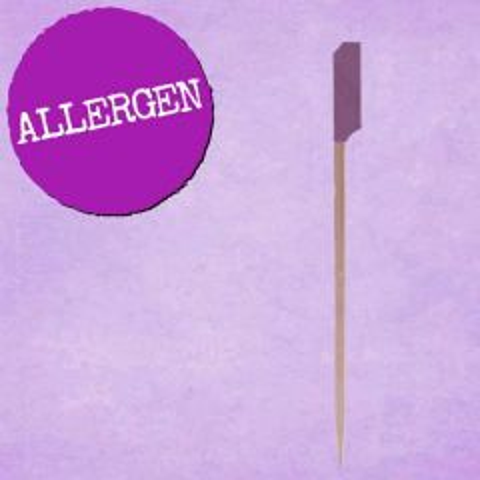 "Purple Tip Allergen Bamboo Gun Shaped Paddle Skewer 4.5"" / 11.5cm"