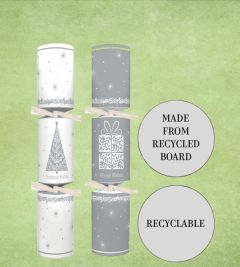 "Tom Smith Recyclable White & Silver Tree & Present Christmas Cracker Mixed Box 10"" / 25cm"
