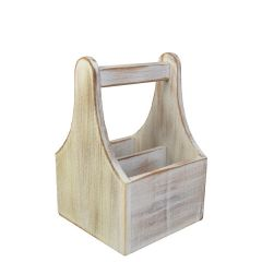 """White Washed Acacia Wood Handled Table Caddy 6x6x9"""" / 15x15x23cm"""