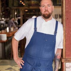 "Chef Works Urban Galveston Chef's Cross Back Bib Apron Royal Blue 40"" L x 39"" W"