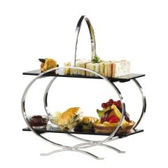 Stainless Steel Cake Stand with 2 Acrylic Inserts