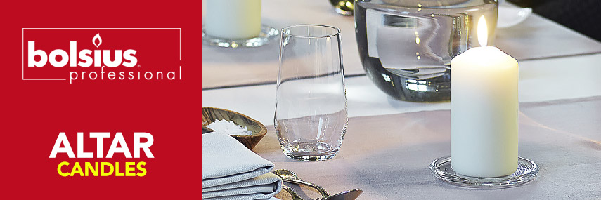 Bolsius Altar Candles & Holders from Stephensons Catering Suppliers