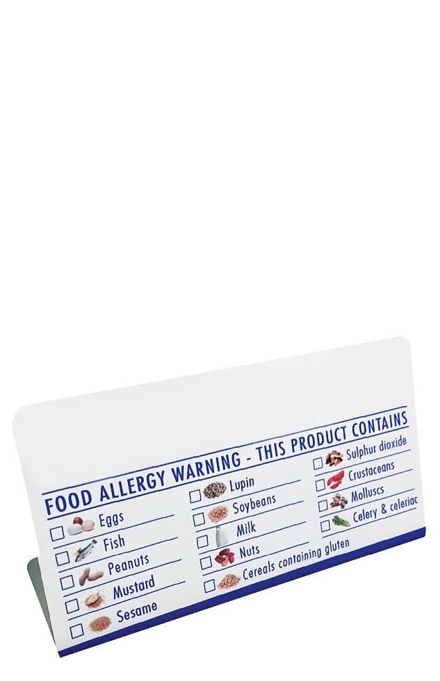 Tick Box Table Tent Allergen Notice