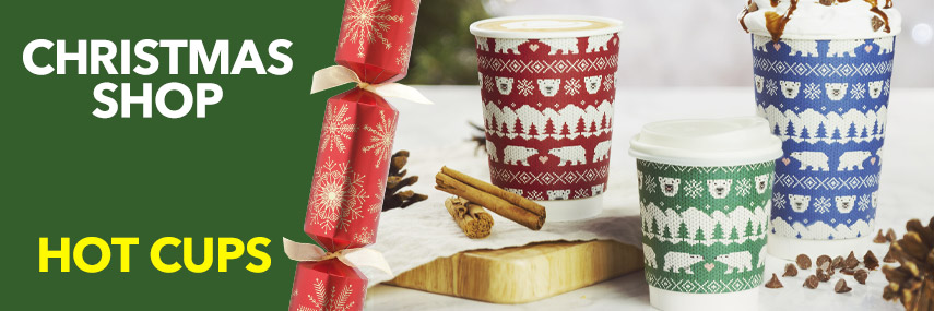 Vegware Double Wall Polar Bear Christmas Hot Cups from Stephensons Catering Suppliers